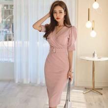 Цельнокроеное корейское платье новинка 2020 летнее женская офисная