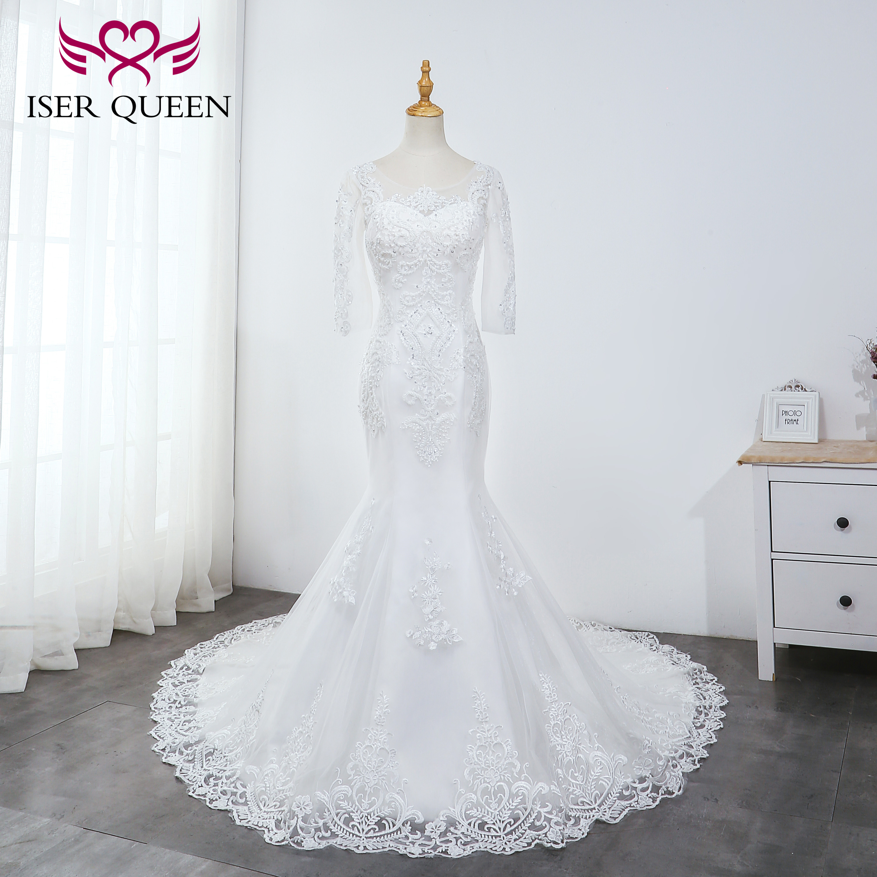 Tulle Three Quarter Sleeves Pearls Beading Wedding Gown 2019 Embroidered Lace Mermaid Wedding Dresses Elegant Pure White WX0039
