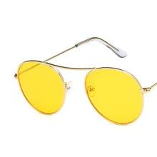 2019 New Ladies Single beam circular Eye Women Sunglasses Tinted Color Lens Metal hinge frame Popular Hip hop Yellow Sun Glasses