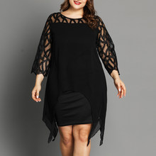 2019 L ~ 5XL Plus Size Jurk Zwart Sheer Lace Mouwen Hoog Laag Onregelmatige Zoom Swing Jurk Casual Party jurken Kanten Jurk D25(China)