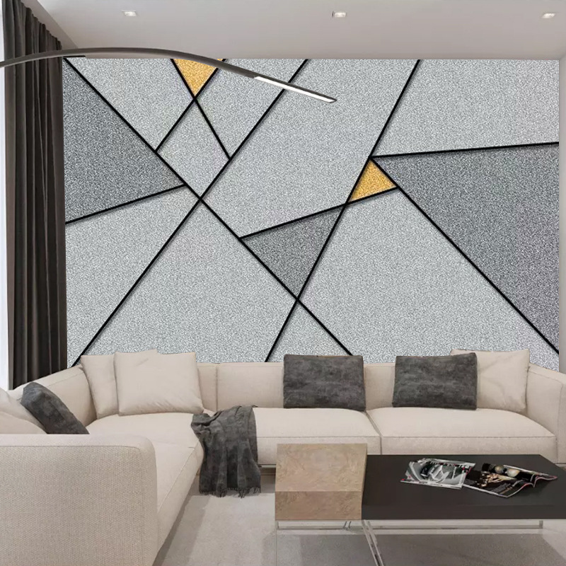 Nordic Living Room Sofa TV Background Wallpaper Minimalist Modern Large 3D Geometric Pattern Decoration Mural