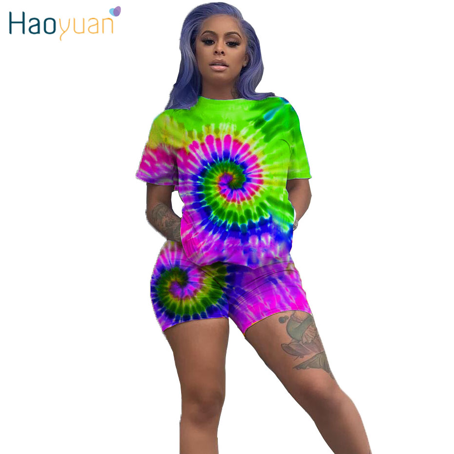 HAOYUAN Tie Dye Two Piece Set Women Plus Size Tracksuit Festival Clothing Top Biker Shorts 2 Piece Outfits Short Matching Sets