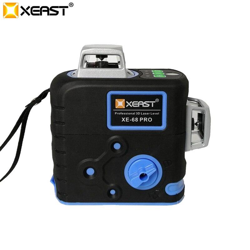 XEAST XE-68G Pro 3D poziomy laserowe 12 linii poziom krzyżowy samopoziomujący odkryty 360 obrotowy zielony Laser z odbiornikiem laserowym