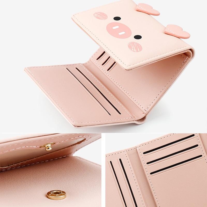Купить с кэшбэком Cartoon Pig CAT Cute Kawaii Wallet for Teen Girls Small Candy PU Leather Wallets Women 2019 Ladies Hasp Fashion Handy Coin Purse