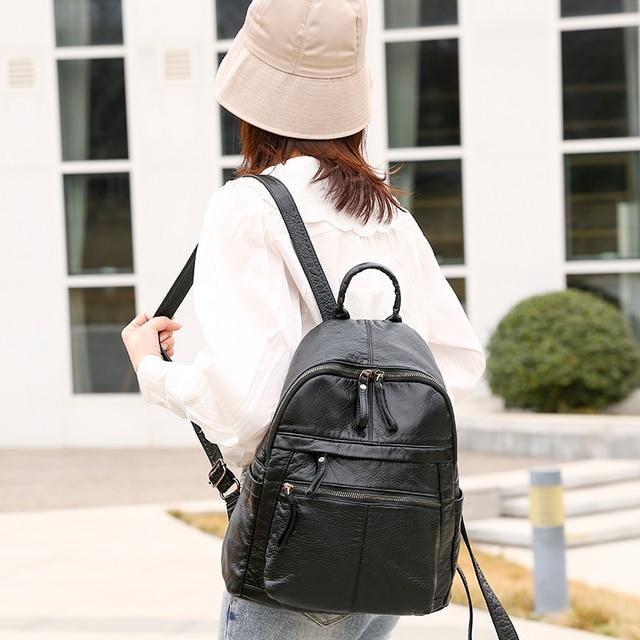 السيدات على ظهره 2020 جديد سعة كبيرة لينة بولي Leather جلد الشباب طالب حقيبة مدرسية موضة حقيبة السفر الأسود الرئيسي 2