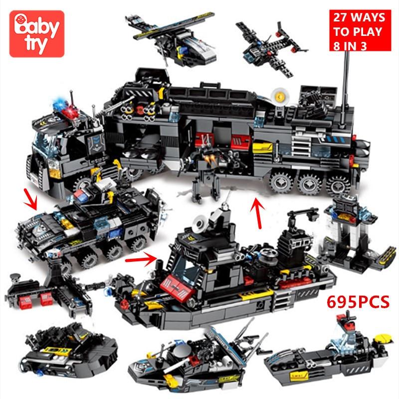 695 pcs tijolos cidade policia swat caminhao navio playmobil presente de natal juguete tecnica blocos de