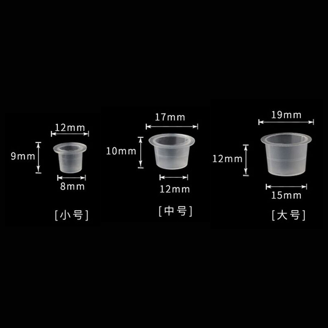 100pc S/M/L Plastic Disposable Microblading Tattoo Ink Cups Permanent Makeup Pigment Clear Holder Container Cap Tattoo Accessory 3