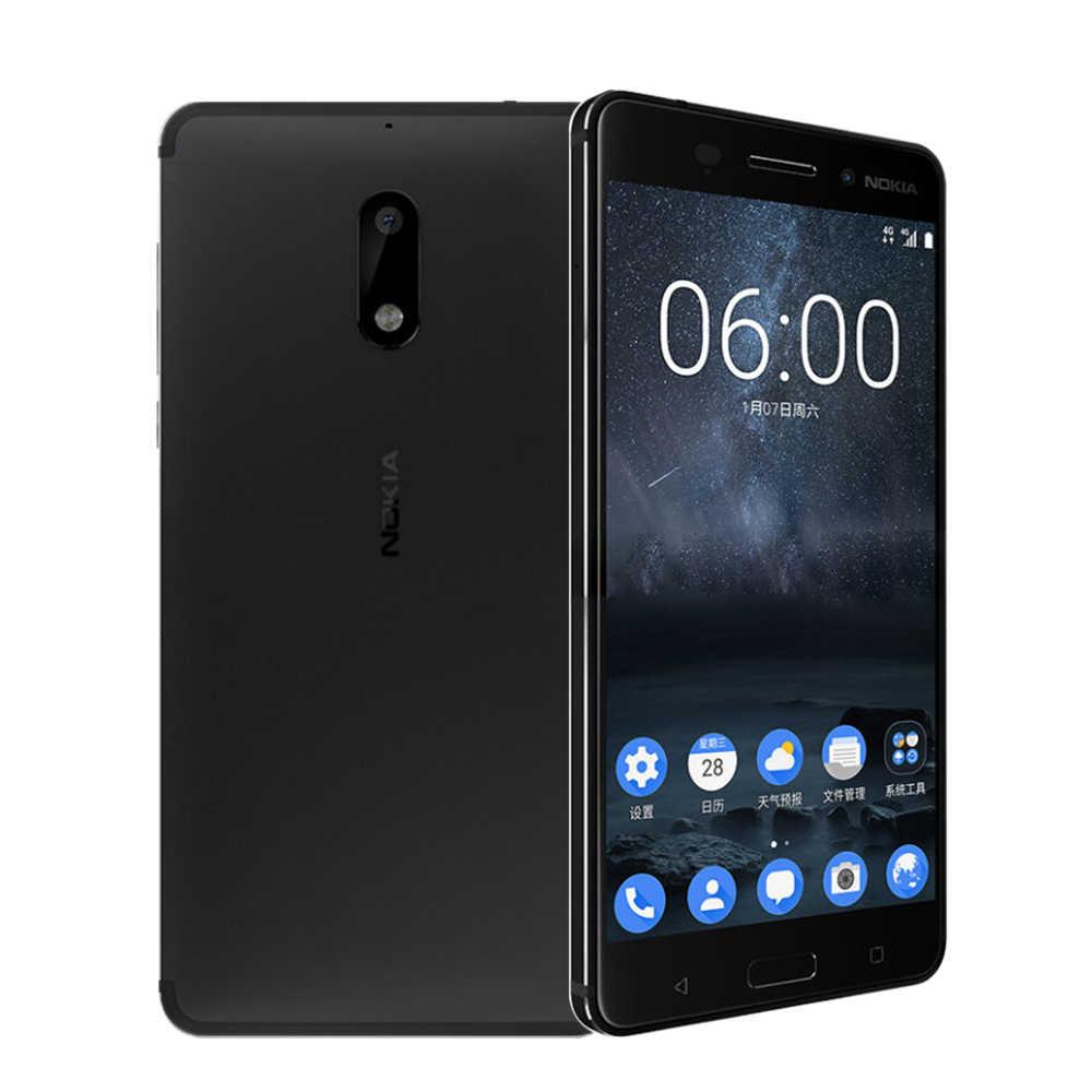 """Nokia 6 double SIM Android Snapdragon 430 téléphone portable 4GB RAM 64GB ROM Octa Core empreinte digitale 5.5 """"1080 P 4G LTE téléphone portable débloqué"""