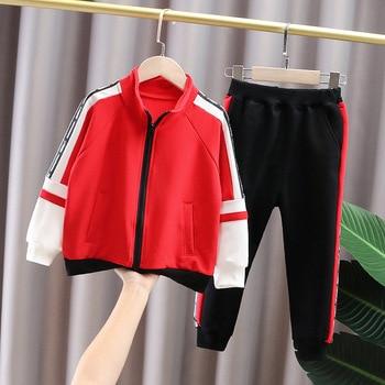 2021 spring and autumn boy jacket children's children's clothing letter stitching cotton sports suit fashion boy baby suit 2