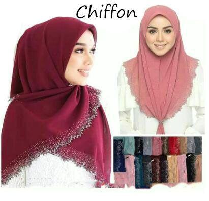 New Hollow Hot Diamond Pearl Chiffon Headscarf Muslim Hijab Long Towel Malaysian ShawlIslamic Clothing