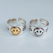 Retro creative funny smile lightning pentagram 925 silver female ring gold and silver retro smile open ring couple jewelry open цена 2017