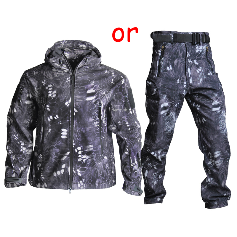 High Quality Waterproof Windproof Army Clothing Soft Shell Military Tactical Camouflage Jacket Set Hunting Jackets & Pants