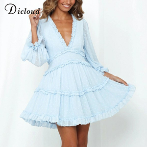 DICLOUD Women Polka Dot Dress Baby Blue Autumn Long Sleeve Clothes Cut-out Back Sexy Mini Party Dress Fashion Outfit Ladies