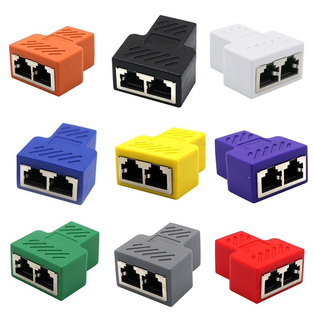 Universal 1 To 2 Dual Female Ports CAT5/6/7 RJ45 Splitter LAN Network Internet Adapter For TV Switch Router