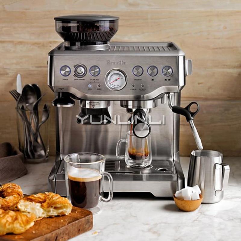 Espresso Coffee Maker Grind Beans Semiautomatic 15Bar Grinder Steam Coffe Machine