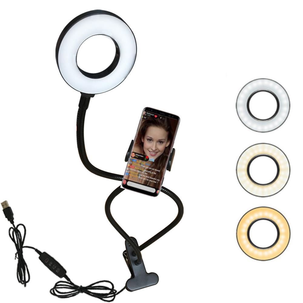 2 In 1 Photo Studio Selfie LED Ring Light With Cell Phone Mobile Clip Holder For Youtube Live Stream Makeup Mirror Camera Lamp