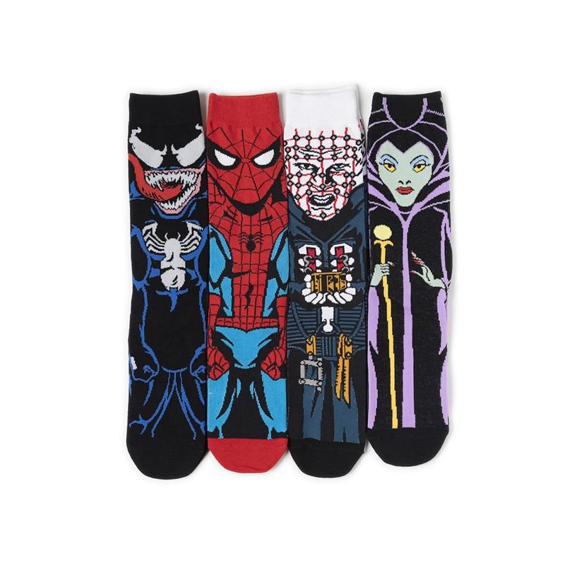 New Autumn And Winter Models Trend Of Men's Personality Cartoon Socks Spiderman Venom In The Tube Cotton Men's Socks