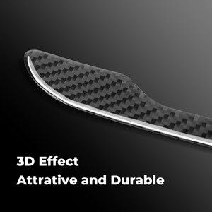 Image 2 - 4 قطعة ملصقات مقبض الباب ل تسلا نموذج 3 التفاف حامي ألياف الكربون ملصق سيارة التصميم