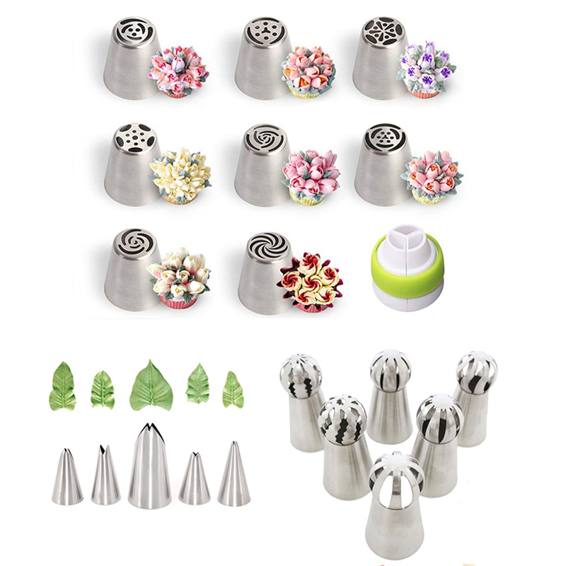 1 Set Russian Flower Nozzle Mouth Set Torch Cake Decoration Cream Squeeze Leaf Mould Baking Tools Metal Irregular Tips Model