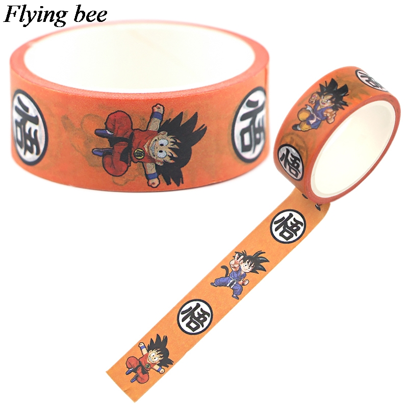 Flyingbee 15mmX5m Bead Washi Tape Paper DIY Decorative Adhesive Tape Sun Wukong Cartoon Masking Tapes Supplies X0744