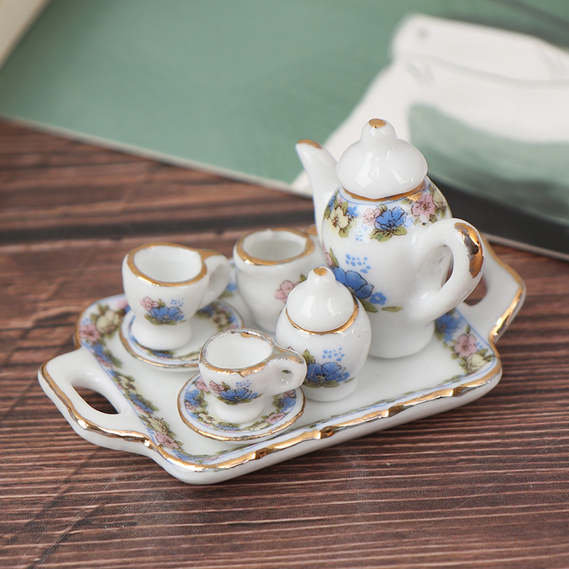 8Pcs Dollhouse Miniature Dining Ware Porcelain Tea Set Dish Cup Plate -White Purple Flower Pattern