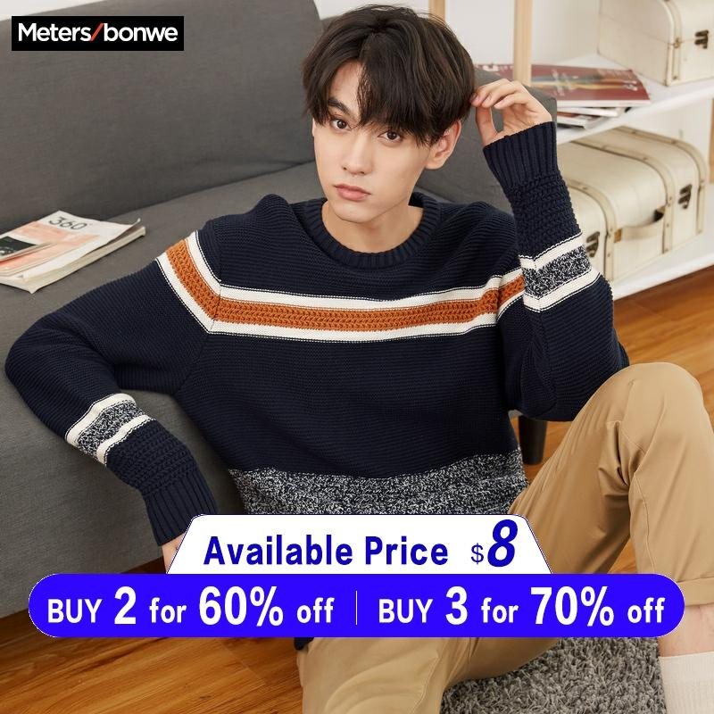 Metersbonwe Cotton Sweater Men 2019 Autumn Fashion Long Sleeve Knitted Panelled Color Men Cotton Sweater High Quality Clothes