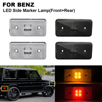 4PCS LED Side Marker Turn Signal Light For BENZ W463 02-14 2PCS x Clear Amber Front 2PCS x Smoked red Rear Side Indicator Lamp