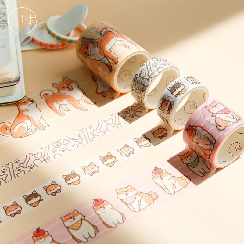 Mohamm 6PCS Shiba Inu Series Creative Cute Cartoon Animal Food Scrapbooking Washi Masking Tape Journal Diy Supplies Stationery