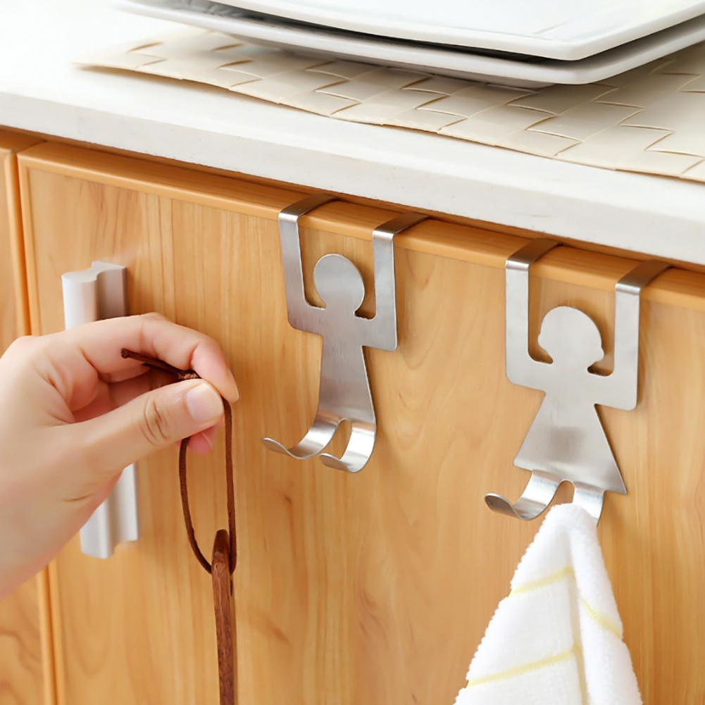 2Pcs Cute Human Shaped Stainless Steel Door Dual Hanger Hook Hat Coat Holder Kitchen Cabinet Storage Hook Kitchen Accessories