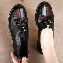 Leather flats woman loafers spring black shoes 2020 fashion bow tied soft female women leather