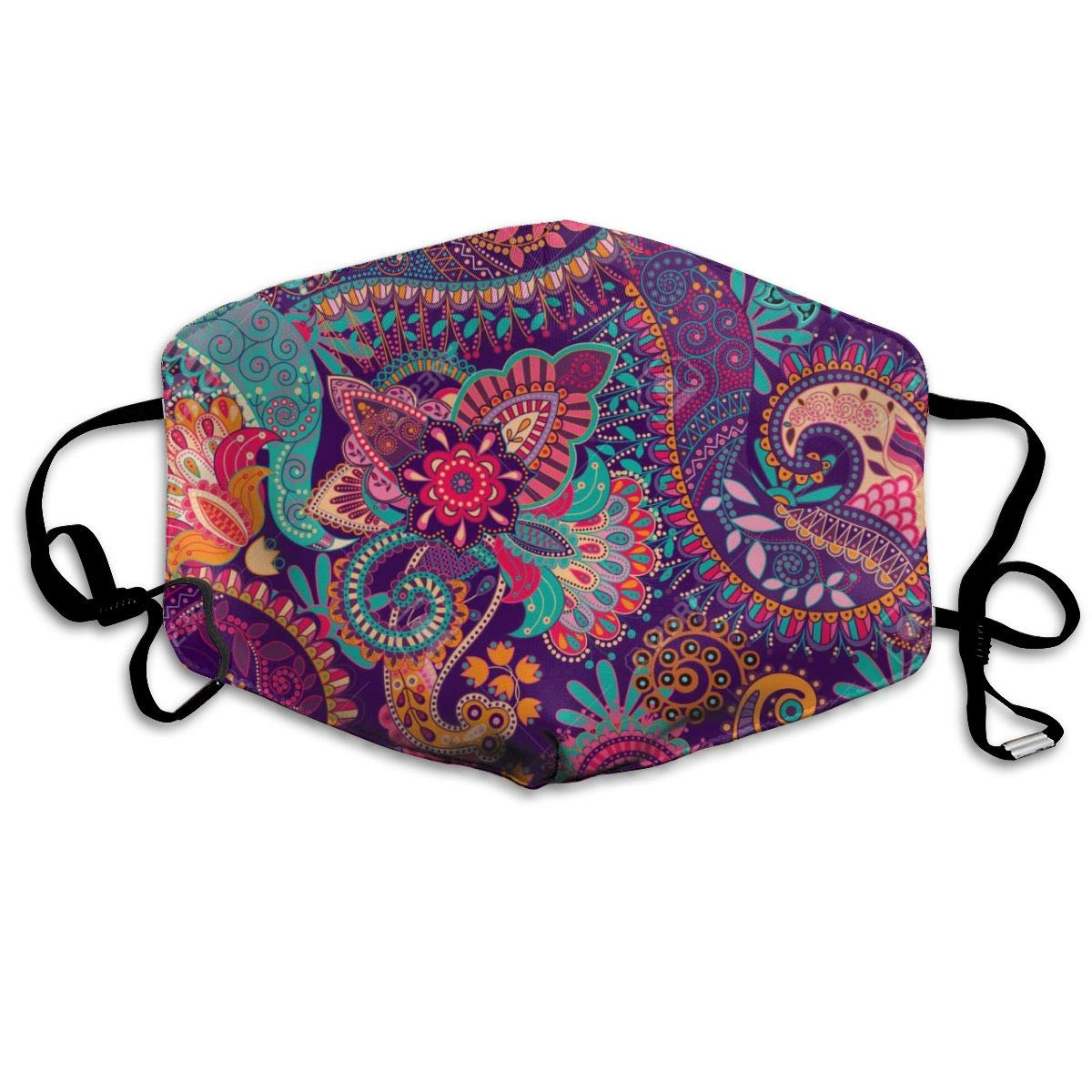 Mouth Mask Purple Floral Mandala Print Masks - Breathable Adjustable Windproof Mouth-Muffle, Camping Running For Women And Men