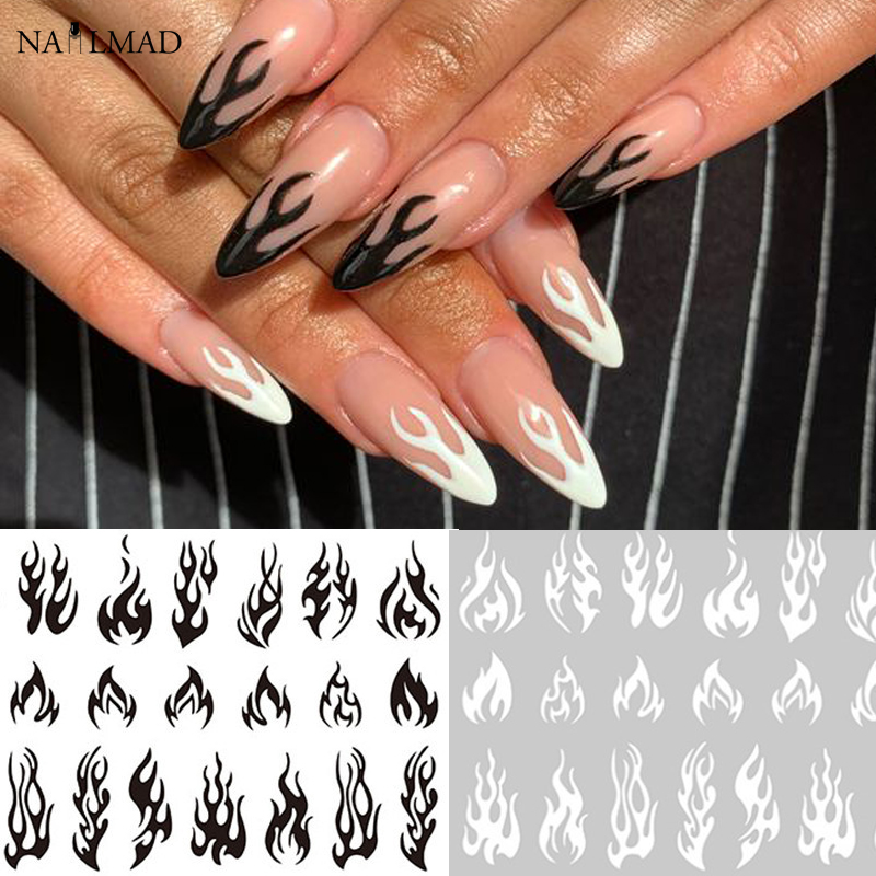 1pc Fire Flame Nail Stickers Gold Black Fire Nail Art Sticker Decal Slider Decorations