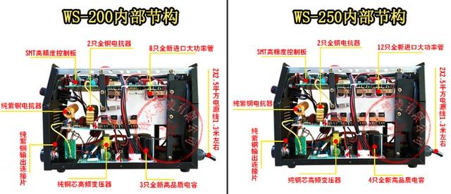 200/250A onduleur cc acier inoxydable 220V soudage à larc Machine à souder à double usage