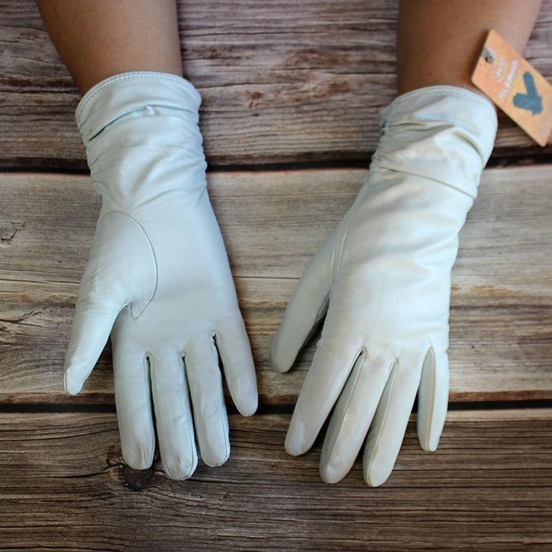Genuine Leather Gloves Women's Sheepskin Gloves White Elastic Style Velvet Lining Outdoor Windproof Winter Warmth 2022 New