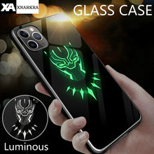 Marvel Batman Venom Luminous Glass Case For iphone 11 Pro XS MAX XR X 7 8 6 6S Plus Avengers Black Panther iron Man Cover Coque(China)