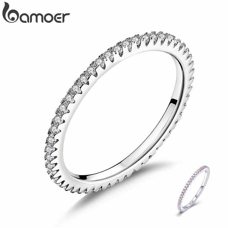 BAMOER CLASSIC 925 เงินสเตอร์ลิงวงกลมคุณภาพสูง CLEAR CZ แหวนเรขาคณิตสำหรับผู้หญิงเครื่องประดับงานแต่งงานของขวัญ SCR066
