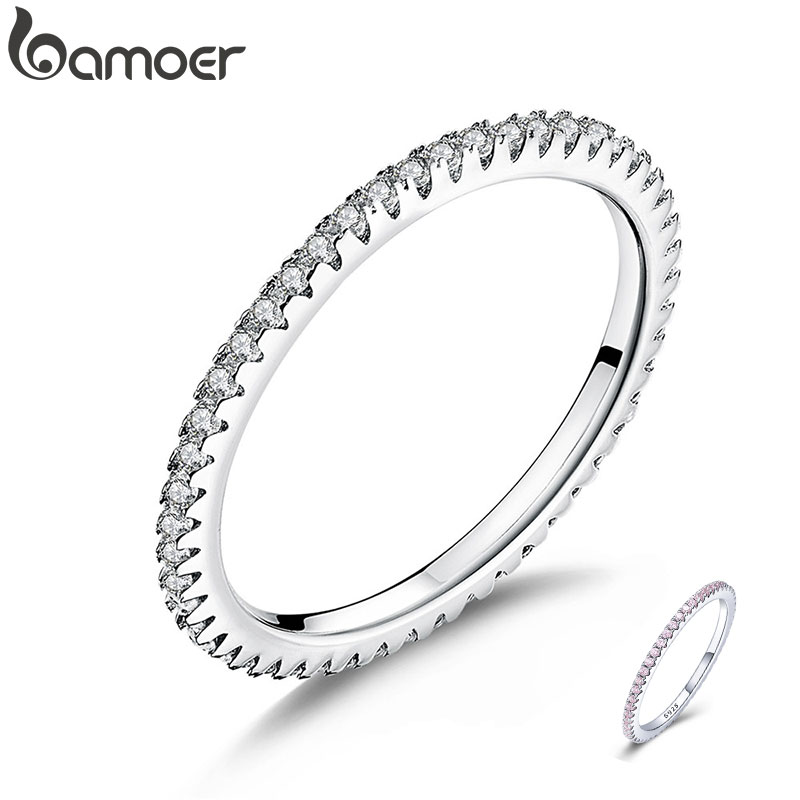 BAMOER Classic 925 Sterling Silver High Quality Circle Clear CZ Geometric Stackable Rings for Women Wedding Jewelry Gift SCR066(China)