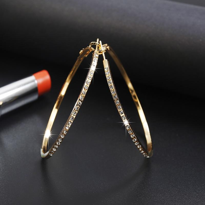 LATS 2020 New Fashion Hoop Earrings With Rhinestone Circle Earring Simple Earrings Big Circle Gold Color Loop Earrings For Women 1
