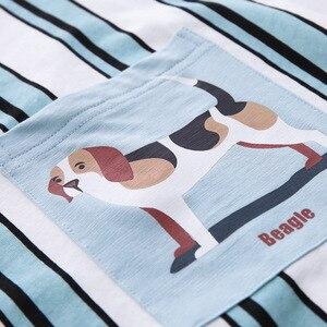 Image 5 - Sleepshirts Plus Size Vestito Da Notte Delle Donne 100% Cotone Della Biancheria Degli Indumenti Da Notte A Righe Risvolto Cardigan del Bicchierino di Estate Notte Vestaglia