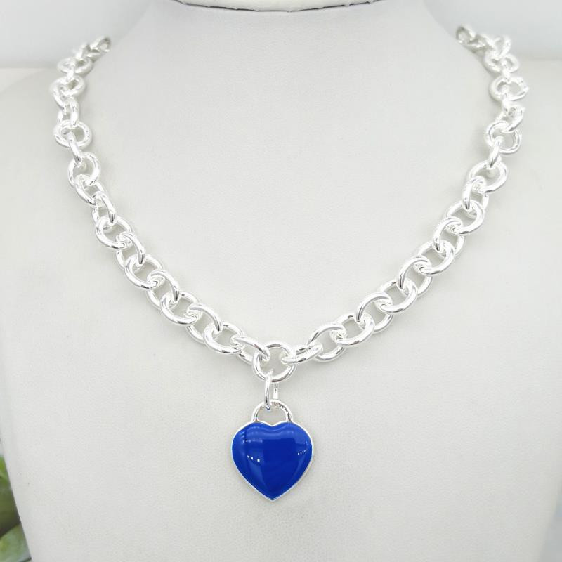 1: 1 sterling silver 925 classic dark blue enamel heart-shaped card charm ladies necklace jewelry holiday gift