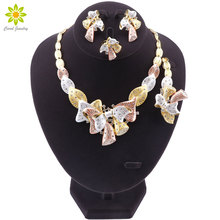 Fashion African Beads Jewelry Set Gold Color Nigeria Wedding Bridal Jewelry Set for Women Classic Crystal Accessories