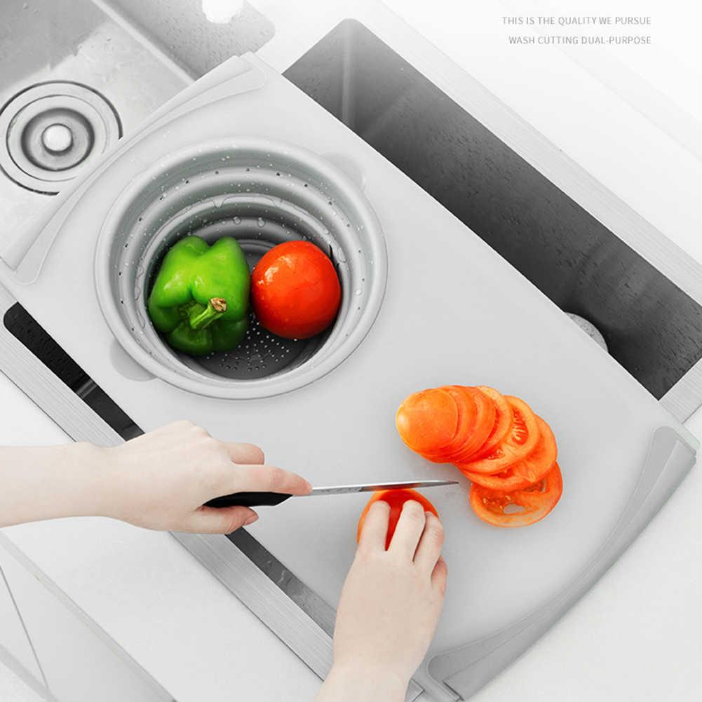 Vouwen Keuken Tafel Flexibele Snijplank Siliconen Afvoer Mand Koken Opslag Keuken Spullen Opvouwbare Vergiet Se