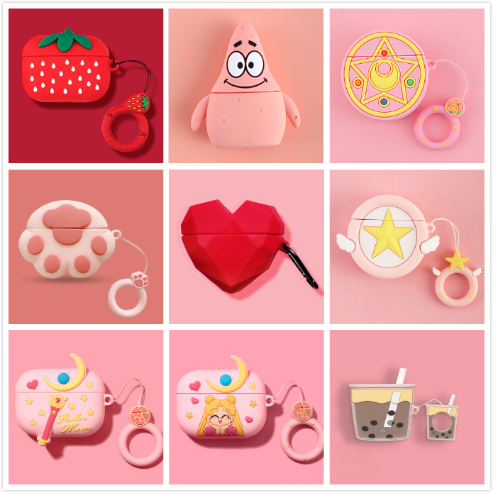 3D Earphone Case For Airpods Pro Case Cute Silicone Cartoon Headphone/Earpods Cover For Apple Air Pods 3 Pro Case With Keychain