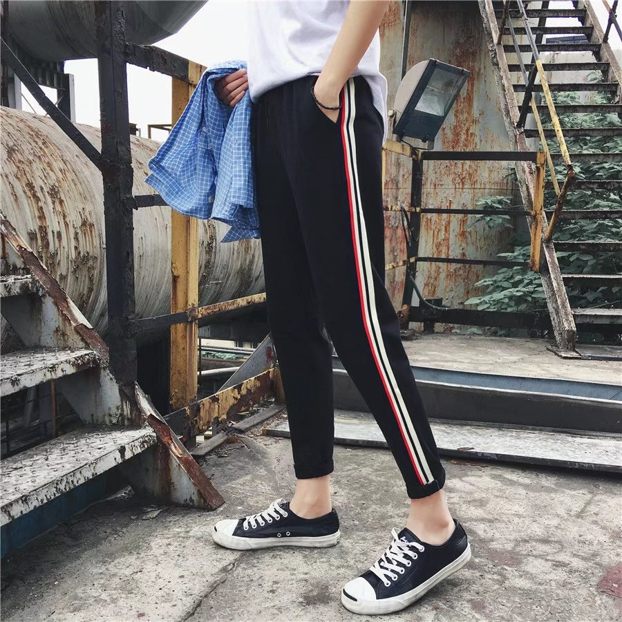 Summer Men Hong Kong Style Stripes Thin Slim Fit Capri Pants Teenager Fashion Casual Skinny Pants Trend