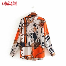 Tangada 2020 Autumn women chain print shirt blouse