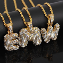 CZ Zirconia Crystal Alphabet Necklace For Men Women Hip Hop 26 A-Z Letters Pendant Name Necklace Gold Chain Jewelry 2020 fashion hip hop chain necklace for women jewelry gifts letters and lock pendant necklace accessories