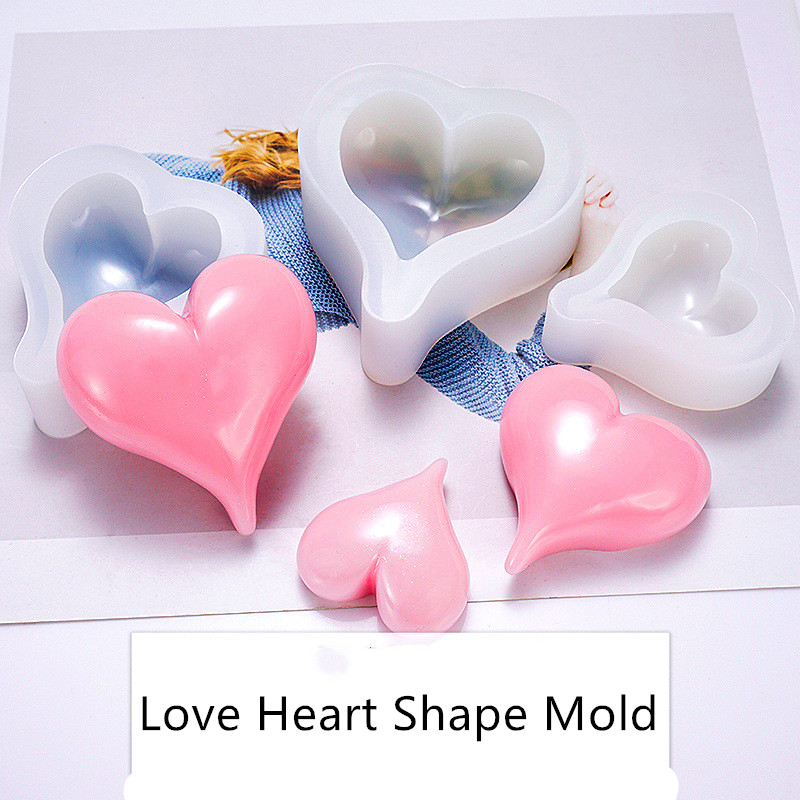 Clear Love Heart Shape Silicone Resin Liquid Mold New Crystal Cake Molds DIY Candle Making Tool Heart Soap Mold