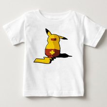 Pikachu Children's T Shirt Pure Cotton Short Sleeve Crew Pokemon Neck Tshirt Costume Boys Girls 2020 New T-shirt for Baby cotton fashion t shirt crew neck eye snake king short sleeve tall mens t shirt