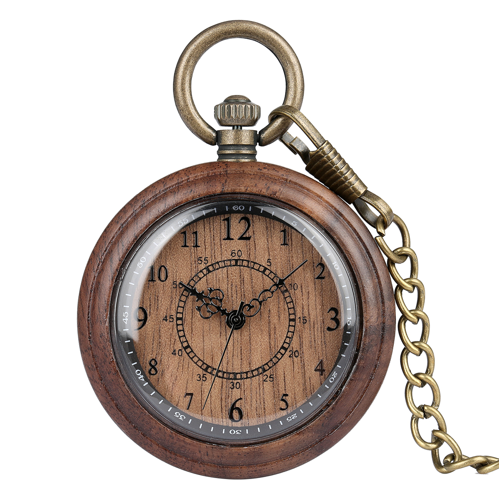 Wooden Case Pocket Watch For Men Exquisite Arabic Numerals Dial Accessory Classic Rough Chain Pendant Clock Reloj De Madera