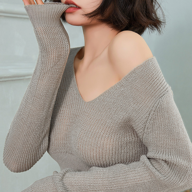 Women Thin Pullover Porn Mini Skirt Korean Style V-neck Loose Knitted Sweaters Sets Adult Sex Fantasy Schoolgirl Cosplay Costume 2